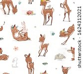 seamless pattern with cartoon fawn