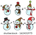 six snowmen isolated on white...