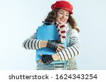 Smiling Trendy Woman With Long...