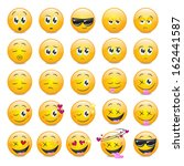 smile icons set   isolated on... | Shutterstock .eps vector #162441587