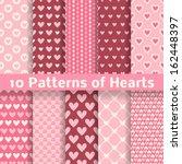 10 Heart Shape Vector Seamless...