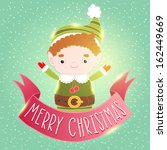 christmas elf card with ribbon | Shutterstock .eps vector #162449669
