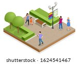 isometric town map with gps... | Shutterstock .eps vector #1624541467