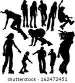 rollerskating silhouettes 1  ... | Shutterstock .eps vector #162472451