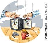 Smiling Watch. Clock. Hands....