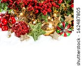 festive decoration with baubles ... | Shutterstock . vector #162487805