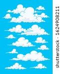 cartoon clouds in blue sky ... | Shutterstock .eps vector #1624908211