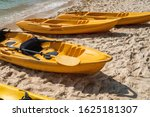 a row of colorful yellow kayaks ... | Shutterstock . vector #1625181307