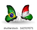 two butterflies with flags on... | Shutterstock . vector #162519371