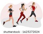 three pretty girls jogging side ... | Shutterstock .eps vector #1625272024