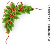 vector christmas holly with... | Shutterstock .eps vector #162530894