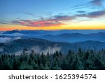 A beautiful view of the sunrise at Clingman