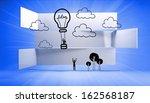 hot air balloon on abstract... | Shutterstock . vector #162568187
