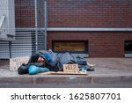 Dirty Homeless With Help Sign...