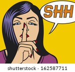 woman with silence sign pop art ... | Shutterstock .eps vector #162587711