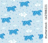 Pattern blue decorative horses with white snowflakes on the body, white clouds and snowflakes on a light blue background. - stock vector