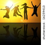 silhouettes of young people...   Shutterstock . vector #16259413