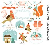 set of christmas graphic... | Shutterstock .eps vector #162595964