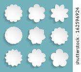 Stock vector set of white paper floral frames 162596924