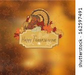 vector hand drawn thanksgiving... | Shutterstock .eps vector #162597491