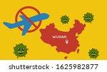 vector of wuhan travel ban due... | Shutterstock .eps vector #1625982877