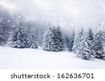 christmas background with snowy ... | Shutterstock . vector #162636701