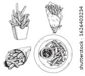 french fries set. hand drawn...   Shutterstock .eps vector #1626403234