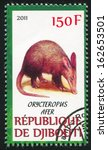 Small photo of DJIBOUTI - CIRCA 2011: stamp printed by Djibouti, shows Aardvark, circa 2011