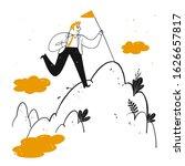 businessman holding flag pole...   Shutterstock .eps vector #1626657817