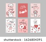 valentine's day. set of cards ... | Shutterstock .eps vector #1626804391