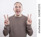 portrait of a crazy man showing ... | Shutterstock . vector #162681251