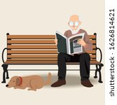 cute senior man reading with... | Shutterstock .eps vector #1626814621