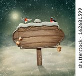 wooden sign and birds in snow | Shutterstock . vector #162681599