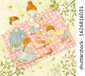 happy family having lunch... | Shutterstock . vector #1626816031