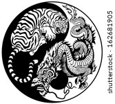 dragon and tiger yin yang... | Shutterstock .eps vector #162681905