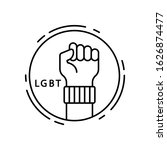 fist  lgbt icon. simple line ...