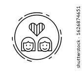 lesbian  lgbt icon. simple line ...