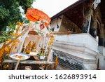 Small photo of Luang Prabang, Laos - January 29, 2015: An altar, built for celebrations of Lao New Year to pay tribute the holy Pra Bang Buddha at Buddhist temple around Luang Prabang, Laos