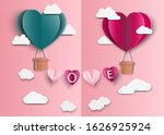 paper art of love and origami... | Shutterstock .eps vector #1626925924
