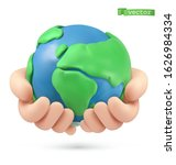 planet earth in hands icon. 3d... | Shutterstock .eps vector #1626984334