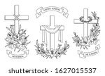 cross with lilies. religious... | Shutterstock .eps vector #1627015537