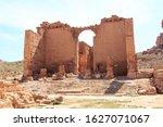 Small photo of Ruins of temple Qasr Bint Firaun (Qasr al-Bint) in ancient city of Petra, Jordan