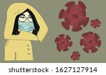 chinese girl in a medical mask..... | Shutterstock .eps vector #1627127914