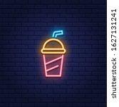 vector neon soda cup icon....   Shutterstock .eps vector #1627131241