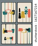 mid century modern decor 1950s...   Shutterstock .eps vector #1627167214
