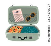 isolated open suitcase with...   Shutterstock .eps vector #1627170727
