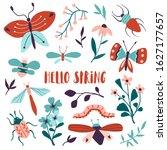 hello spring floral card ... | Shutterstock .eps vector #1627177657