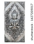 Small photo of Silver carving of male deity or angel pay obeisance isolated on white background. Indra art silver carving isolated