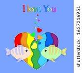 i love you paper cut fish... | Shutterstock . vector #1627216951