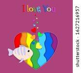 i love you paper cut fish flow... | Shutterstock . vector #1627216957